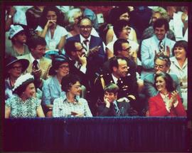 Queen Elizabeth, unidentified woman, Prince Edward, and Minister Iona Campagnolo, seated at 1976 ...
