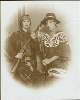 Minister Iona Campagnolo and Lucie Lambert dressed in Western costume, Vancouver, BC