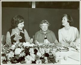 First Lady Rosalyn Carter, anthropologist Margaret Mead, and Minister Iona Campagnolo at banquet ...