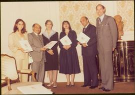 Paris Press Conference - Iona Campagnolo, Roger Jackson, and four unidentified others stand displ...