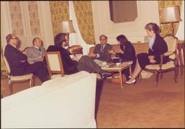 Paris Press Conference - Roger Jackson, Iona Campagnolo, and four unidentified others sit talking...