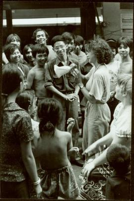 CUSO Mission, North-eastern Thailand - Unidentified woman speaks to crowd of children