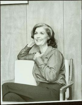 Casual portrait of Iona Campagnolo sitting in a chair, Burnaby, BC