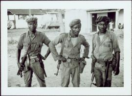 CUSO Mission in Waku-Kungo, Angola - Three MPLA fighters in uniforms, with guns