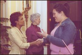 Governor General Michaëlle Jean shaking hands with Alana Sayers, Lieutenant Governor Iona Campagn...
