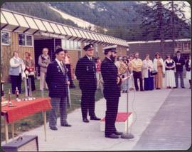 Three men in uniform at awards ceremony, Stewart Secondary School, BC
