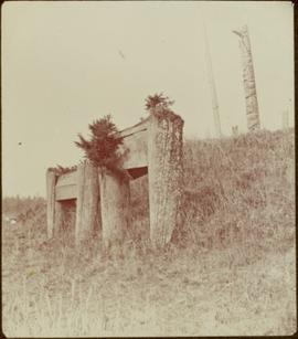 Haida tombs and totem poles in Masset, Queen Charlotte Islands, BC