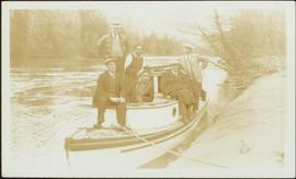 W.E. Collison and others on inspection trip by boat to villages on Nass River, BC