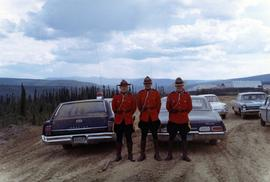 Three unknown RCMP constables in dress uniform