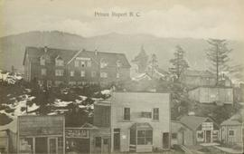 Two levels of commercial buildings in Prince Rupert, BC