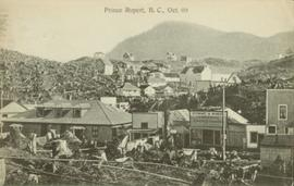 Buildings amidst stumps in Prince Rupert, BC