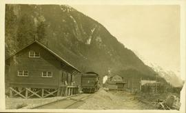Train coming into the station in Stewart, BC