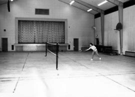 1965 - Unknown Woman Playing Badminton in Rec Centre