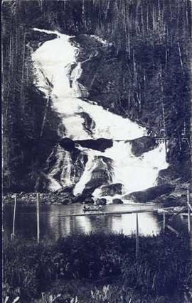 The water fall and flume for Brown's Sawmill. [Hocsall?] River, B.C