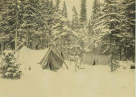 Black and white photo of tents in a snowy forest clearing