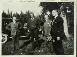 Group photo taken outside featuring Harry Perry, Hon. W. Sutherland, Hon. T.D. Pattullo, and M. M...