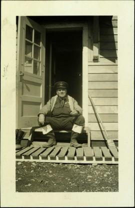 Flight Sergeant McLean at Officers' Quarters, Fort St. John
