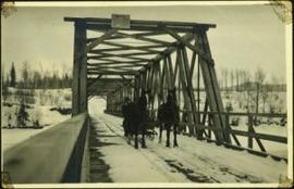 Man Driving Team of Horses over Nechako River Bridge