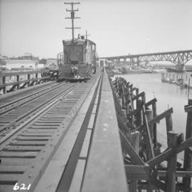 B.C. Electric Railway locomotive crossing False Creek trestle