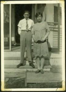 Young Arthur & Virginia Taylor on Front Steps