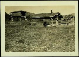 Unidentified Man at Log Cabin