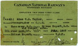 Railway Ticket to Vancouver in Violet Taylor's Name