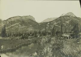 Landscape view near Jasper Lake featuring a survey camp