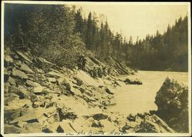 Men Lining a Scow in the Grand Canyon of the Fraser