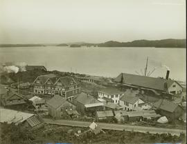 Overview of buildings and wooden boardwalk next to the Prince Rupert shorline