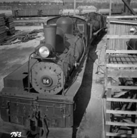 Two 3-truck Shay locomotives at the Vancouver Wharves Ltd.