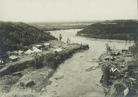 View of camp from a trestle spanning across Wolf Creek